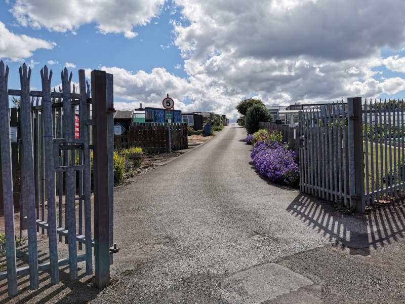 The metal gates of the allotments entrance
